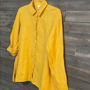Eileen Fisher Linen Button Down Blouse Yellow
